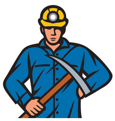 Coal miner with pick ax vector
