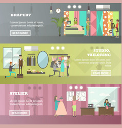 Set of fashion atelier horizontal banners vector