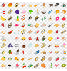 100 food icons set isometric 3d style vector