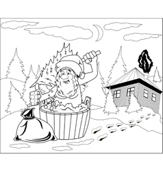 Santa claus takes a bath vector