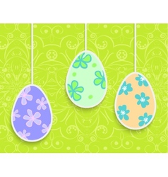 Easter background with hanging on the ropes eggs vector