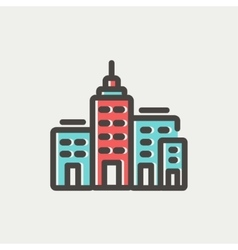 Condominium building thin line icon vector image