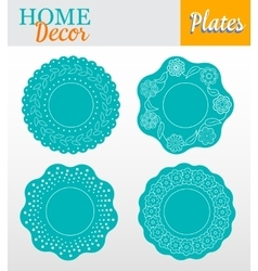 Set of 4 decorative plates for interior design - vector