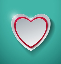 Paper heart on turquoise background vector