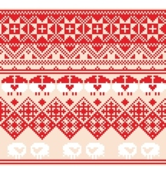 Winter red seamless pattern with sheep Pixel vector image