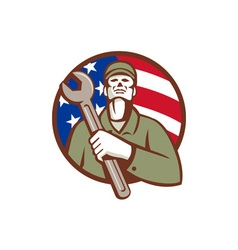 Mechanic holding wrench usa flag circle retro vector