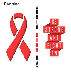 Red ribbon symbol aids world day poster syndrome vector