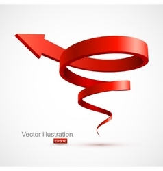Red spiral arrow 3d vector