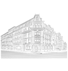Detailed old buildings on the street corner vector