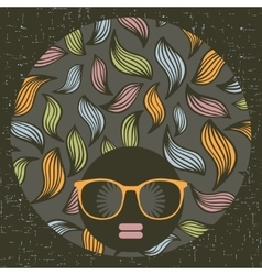 Black head woman with strange pattern on her hair vector