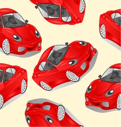 Seamless texture merry small red car cartoon vector