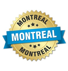 Montreal round golden badge with blue ribbon vector