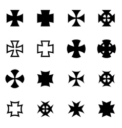 Black choppers crosses icon set vector