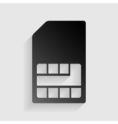 Sim card sign black paper with shadow on gray vector