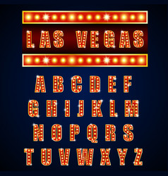 Alphabets lamp of light neon of gold vector