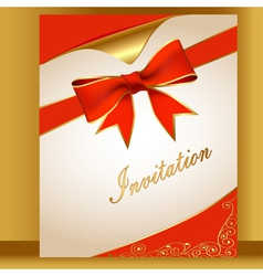 an of the card with a red ribbon for the invitatio vector image vector image