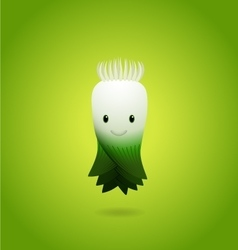 Baby Green Leek Cartoon Character vector image vector image
