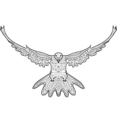 Bird dove flying eagle doodle hand drawing doodles vector image