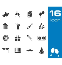 black party icons set vector image vector image