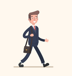 Businessman goes to work with a bag vector