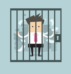 Businessman in prison vector image