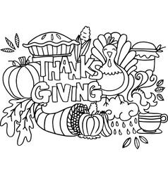 Doodle art happy thanksgiving element vector image