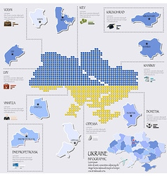 Dot And Flag Map Of Ukraine Infographic Design vector image