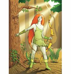 elf female archer vector image vector image