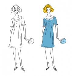 fashion girl in retro dress vector image vector image
