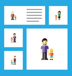 flat icon people set of grandson father mother vector image vector image
