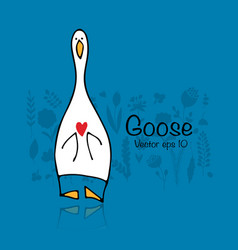 funny goose sketch for your design vector image vector image