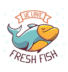 Great blue green fish with title we love vector