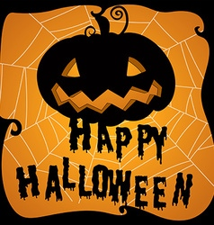 Halloween poster with pumpkin and web vector image vector image