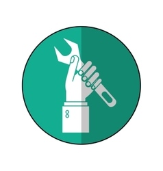 Hand holding wrench support engine symbol-green vector