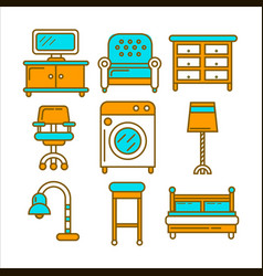 Home and room furniture interior accessories or vector