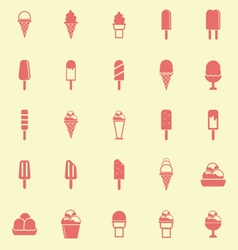 Ice cream color icons on yellow background vector