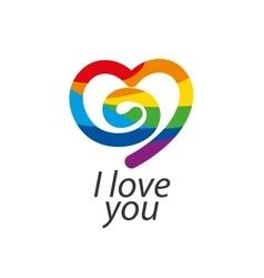 Logo heart and rainbow vector
