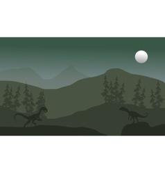 Megapnosaurus in hills scenery silhouette vector