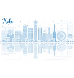 Outline kobe skyline with blue buildings vector