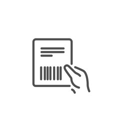 Parcel invoice line icon delivery document vector