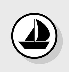 Sail boat sign flat black icon in white vector