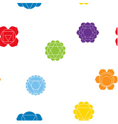 seamless pattern with signs and names of chakras vector image vector image