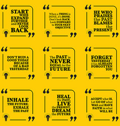 Set of motivational quotes about past goals vector