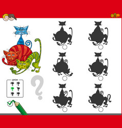 shadow activity game with cat characters vector image vector image