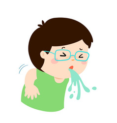 Sick boy vomiting cartoon vector