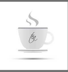 simple white cup of tea with inscription vector image vector image