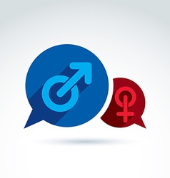 Speech bubbles with blue male and red female signs vector