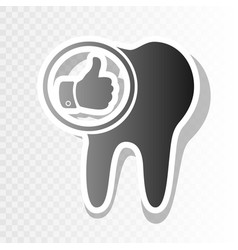 Tooth sign with thumbs up symbol new year vector
