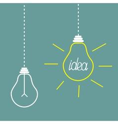 Two hanging light bulbs idea concept vector