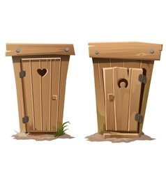 Two rural toilets on white background vector
